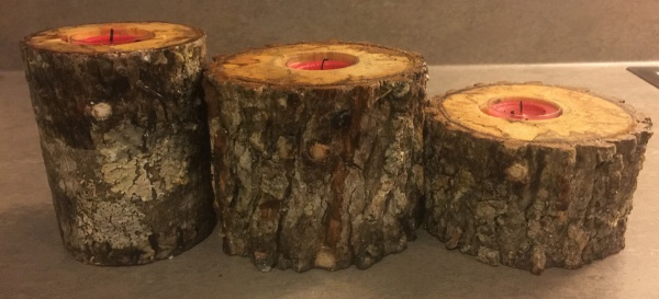 candles in wood